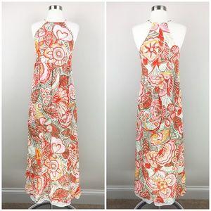 LOFT Floral Halter Maxi Dress Size 2